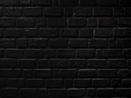 Black brick wall close up texture, brick surface for background. Vintage wallpaper. Banco de Imagens