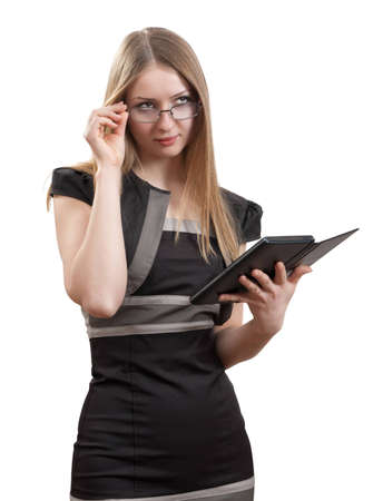 The girl with the electronic book on a white background Stock Photo - 12325775