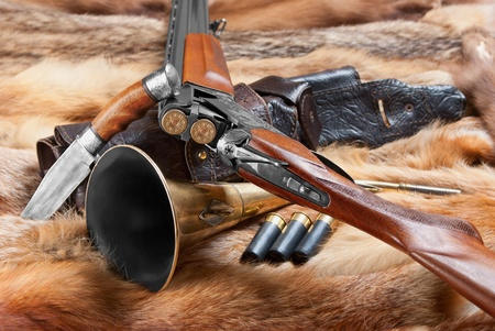 old rifle: Hunting things on background of the fur