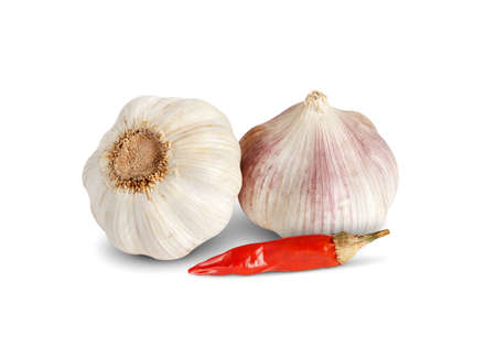 Garlic and red pepper on white background Stock Photo - 12784969