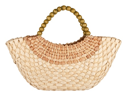 wattled straw bag isolated on white