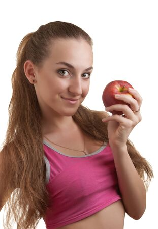 woman with apple isolated on white