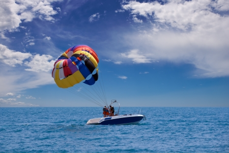 preparing for take-off parasailing Stock Photo