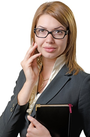 business woman with a notebook in hand isolated on white Stock Photo - 15866802