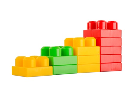 colorful toy cubes isolated on white Stock Photo
