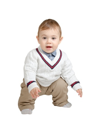 beautiful baby dressed isolated on white Stock Photo