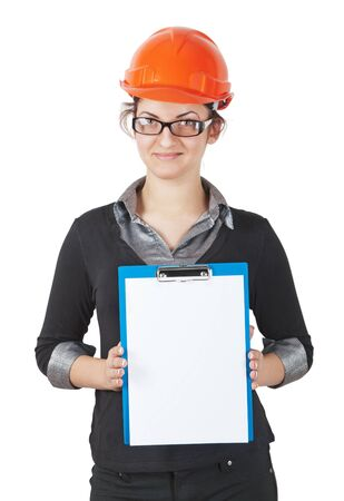 woman foreman in the construction helmet holding a tablet with a blank  isolated on white Stock Photo