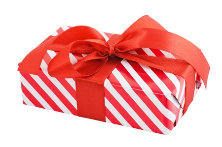 Gift box wrapped in striped paper and a bow  Object with Clipping Paths