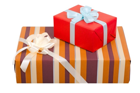 Beautiful gift boxes with bows  isolated on white  Objects with Clipping Paths Stock Photo