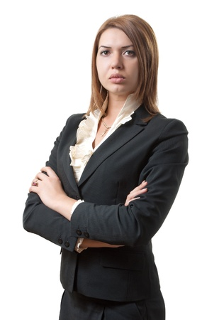 portrait of strict woman in office attire  isolated on white Stock Photo