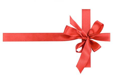 Red satin gift bow  Ribbon  Isolated on white Stock Photo - 17131784