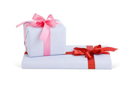 gift boxes with bows isolated on white Objects with Clipping Paths photo