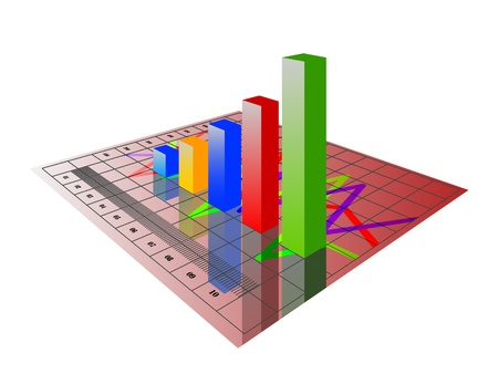illustration of 3d image of business graph with growing chart Vector
