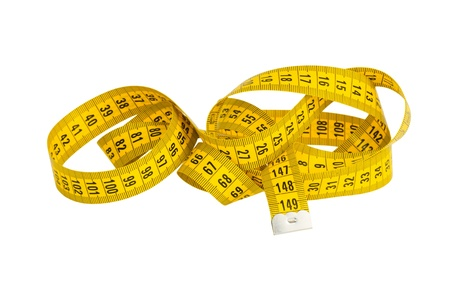 yellow twisted measuring tape isolated on white Stock Photo - 17332001