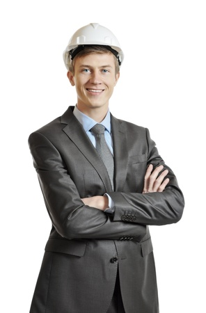 Portrait of an engineer in a suit and crash helmet Stock Photo