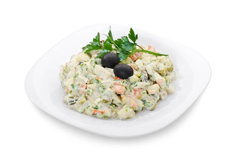 portion Russian salad Olivier, isolated on white object with clipping paths
