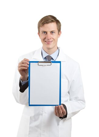 doctor  holding a blank clipboard isolated on white background