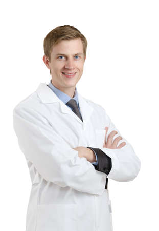 smiling young doctor. isolated on white background