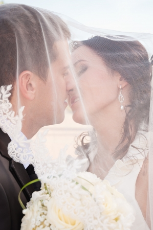 newlyweds tenderly kissing under the veil Stock Photo