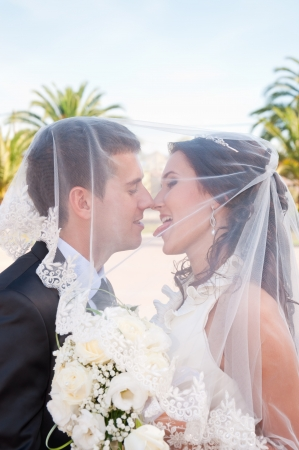 Bride and Groom Kissing Under Veil photo