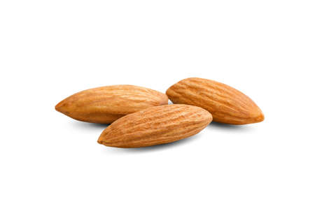 clean almond isolated on a white background  clipping paths