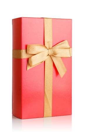 red gift box with bow isolated on white Stock Photo - 26002990