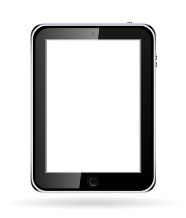 Realistic tablet  computer with blank screen.  Vector