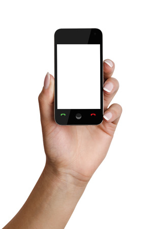 a womans hand holding a modern smartphone with a blank screen. isolated on white. clipping  paths photo