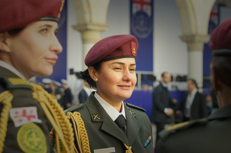 berets: women in the military. Army officer. Tbilisi. Georgia. Editorial