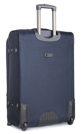 back side blue suitcase, isolated on white. clipping paths photo