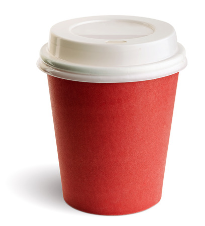 Take-out coffee in thermo cup. Isolated on a white. clipping patch