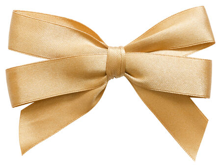 golden bow of satin ribbon. isolated on white Stock Photo