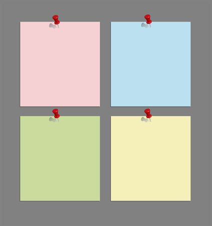 set of note papers with push pins on gray background  vector illustration