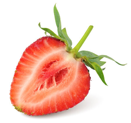Half of strawberry isolated on white background photo