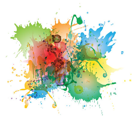 Abstract colorful watercolor splashes isolated on white background Vector