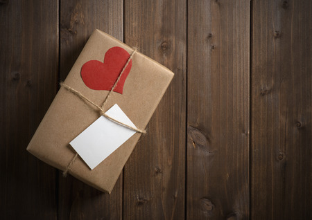 wrapped in kraft paper gift for Valentine Stock Photo