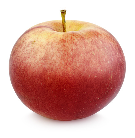 clr: Red apple on white background