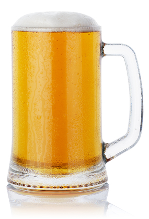 mug fresh beer with cap of foam isolated on white background. clipping path