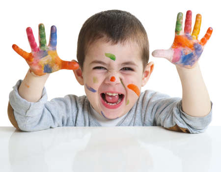 smeared hand: happy little boy with paints on hands isolated on white background
