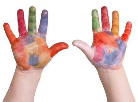 kindergartner: child is holding up painted art hands on a white isolated background.