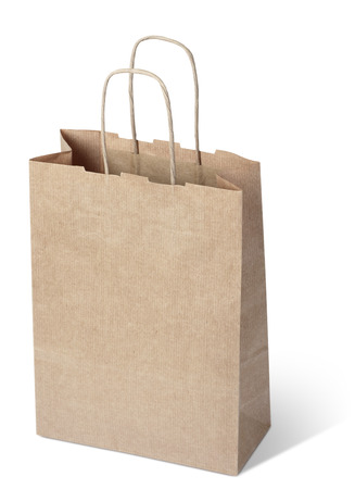 kraft paper shopping bag on white background. clipping path