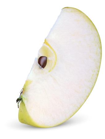 Green apple slice isolated on white background Stock Photo