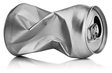 crushed aluminum cans: Crumpled empty blank soda or beer can garbage isolated on white background with clipping path