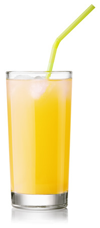 glass of fresh pineapple juice with a straw. Isolated on white with clipping paths Stock Photo