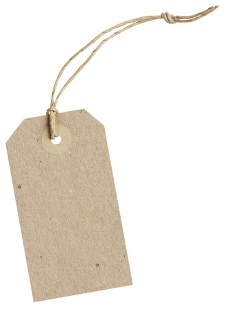 brown paper tag with string isolated on white background with clipping paths Stockfoto