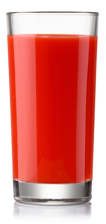 glass of fresh tomato juice isolated on white with clipping paths
