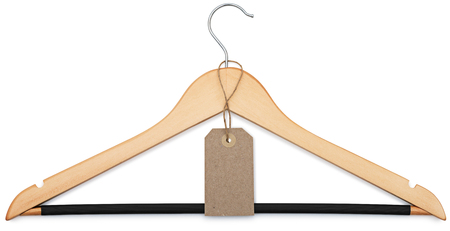 coat hanger and blank price tag isolated on white background with clipping paths