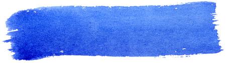 gouache: Blue stroke of gouache paint brush isolated on white