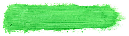 green stroke of gouache paint brush isolated on white