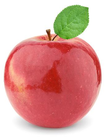 Ripe red apple with a green leaf. Isolated on a white background.